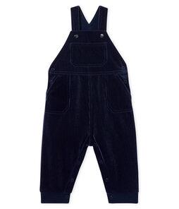 Peto largo de pana para bebé niño azul Smoking