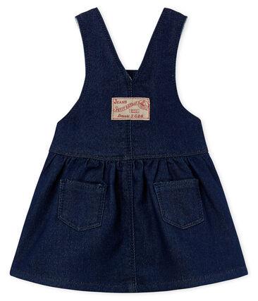 Vestido peto de tela efecto vaquero para bebé niña azul Medieval / beige Ecru Cn