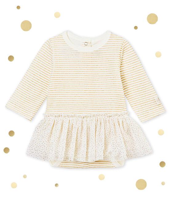 Body vestido para bebé niña blanco Marshmallow / amarillo Dore