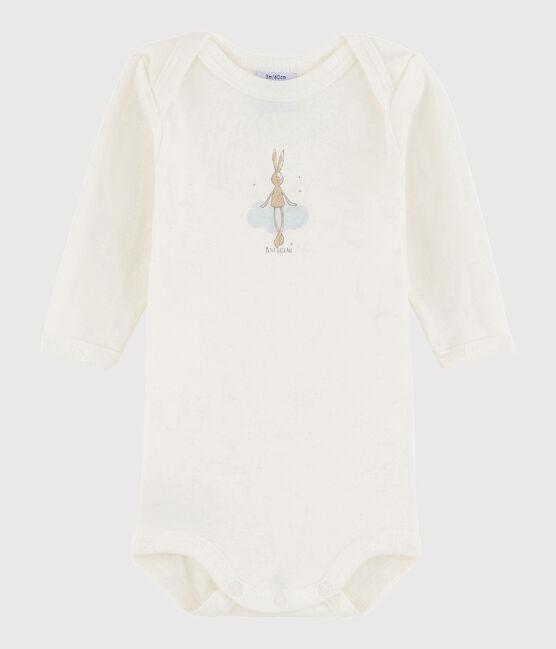 Bodi de manga larga de bebé niño blanco Lait
