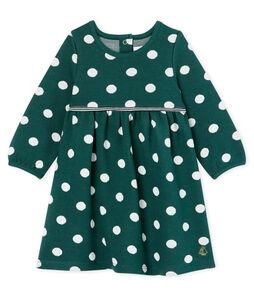 Vestido de manga larga y lunares para bebé niña