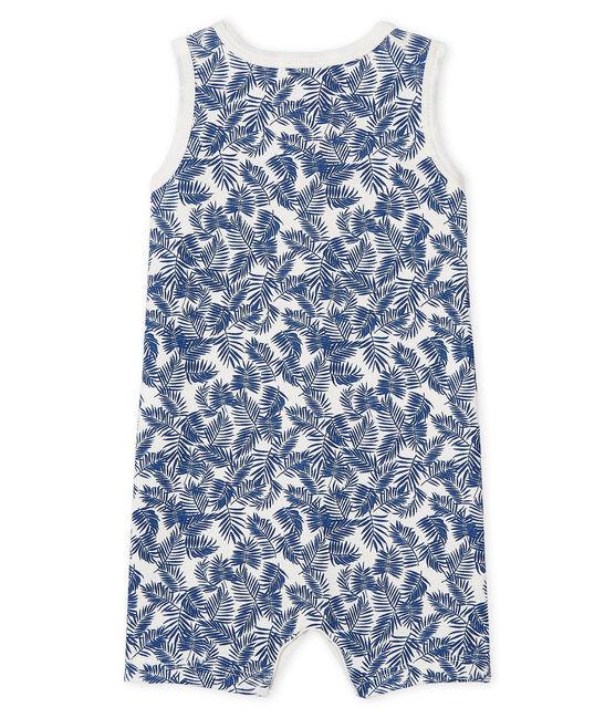 Pelele corto de punto para bebé blanco Marshmallow / azul Bleu