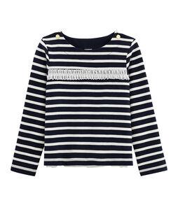 Jersey marinero de manga larga para niña azul Smoking / beige Coquille