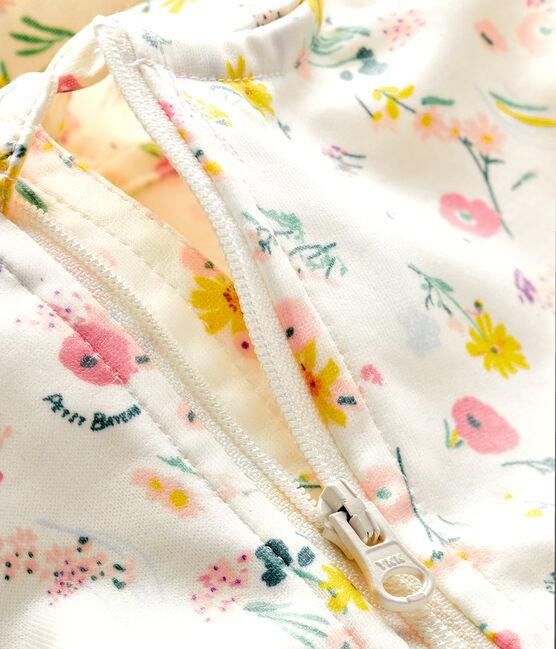 Cortavientos estampado para bebé unisex blanco Marshmallow / rosa Rose