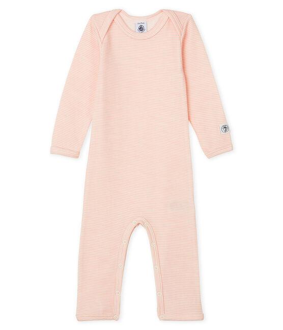 Body largo para bebé de lana y algodón rosa Charme / blanco Marshmallow
