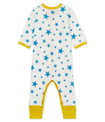 Pelele sin pies de punto para bebé niño blanco Marshmallow / azul Alaska