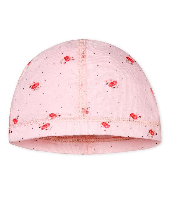 Gorro nacimiento estampado para bebé unisex rosa Vienne / blanco Multico