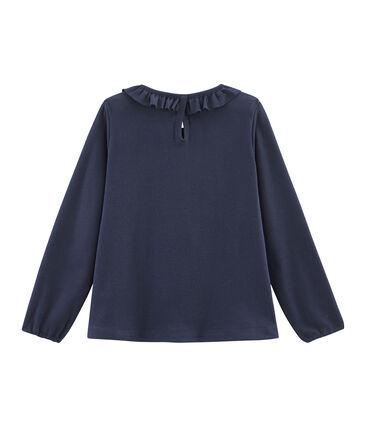 Camiseta manga larga infantil para niña azul Smoking