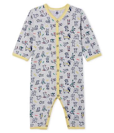 Pijama sin pies de punto para bebé niño gris Poussiere / blanco Multico