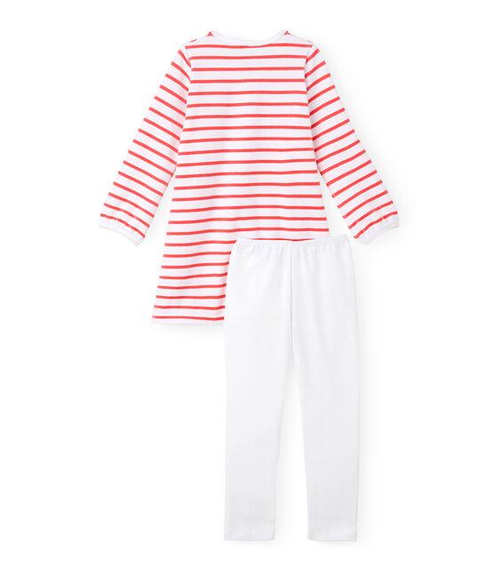 Chemise de nuit fille à rayure marinière et son legging