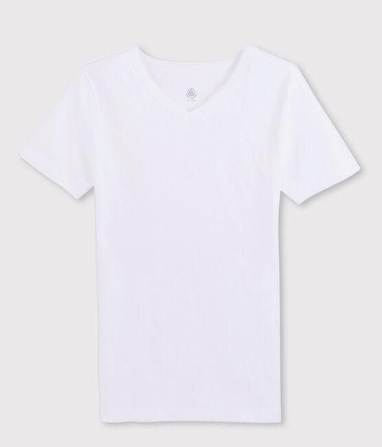 Camiseta de manga corta con cuello de pico para hombre blanco Ecume