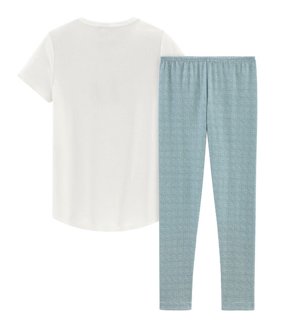 Pijama manga corta de punto para niña blanco Marshmallow / rosa Rosako