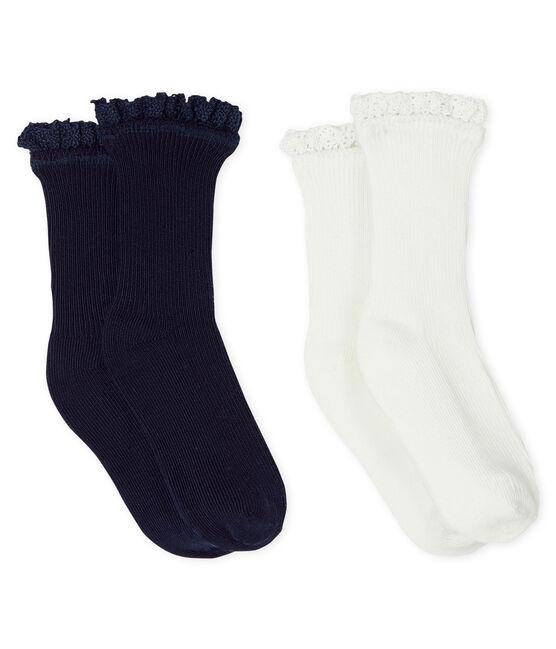Lote de 2 pares de calcetines con encaje para bebé niña SMOKING