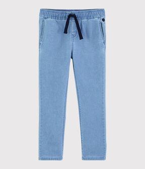 Pantalón de felpa vaquero de niño azul Denim clair