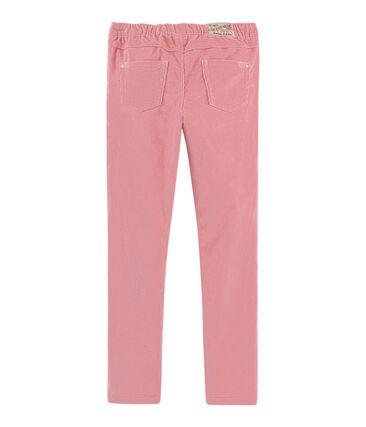 Pantalón de terciopelo slim para niña rosa Charme