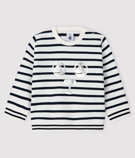 Sudadera de muletón para bebé niña blanco Marshmallow / azul Smoking