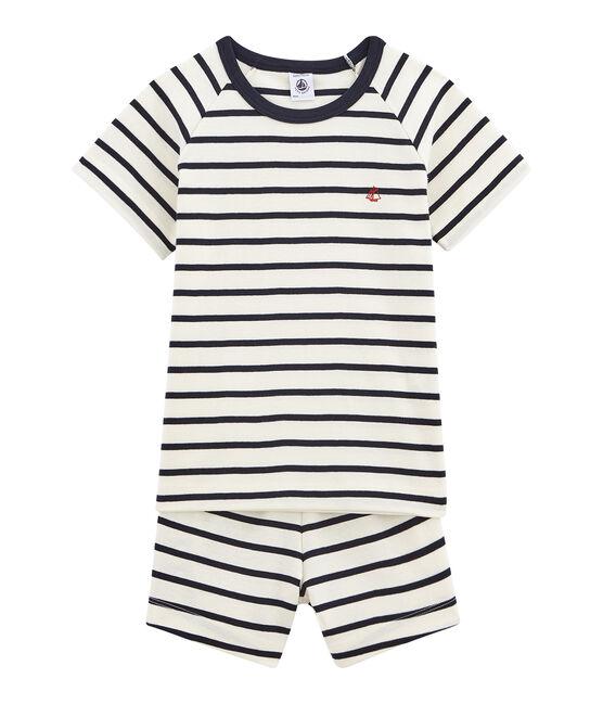 Pijama corto de punto para niño blanco Marshmallow / azul Smoking