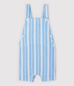 Peto corto de popelina de rayas de bebé niño azul Jasmin / blanco Marshmallow