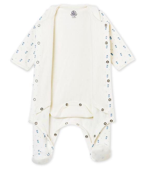 Bodypijama para bebé niño en terciopelo de algodón estampado blanco Marshmallow / blanco Multico