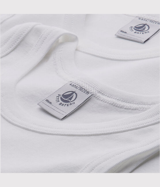 Lote de 2 camisetas sin manga blancas niño lote .