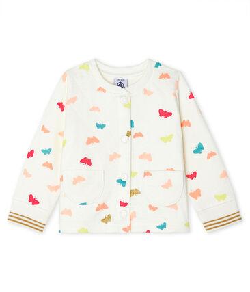 Cárdigan de tejido túbico acolchado para bebé niña blanco Marshmallow / blanco Multico