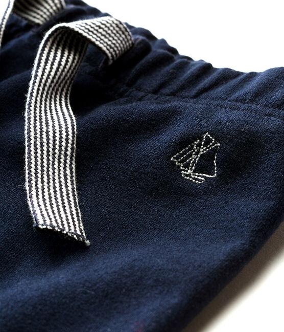 Pantalón de muletón ligero liso para bebé niño azul Smoking