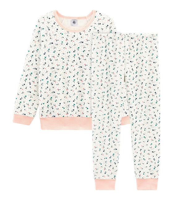 Pijama de rizo picado para niña blanco Marshmallow / blanco Multico