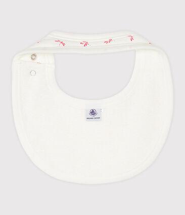 Babero de punto acanalado para bebé blanco Marshmallow / rosa Groseiller