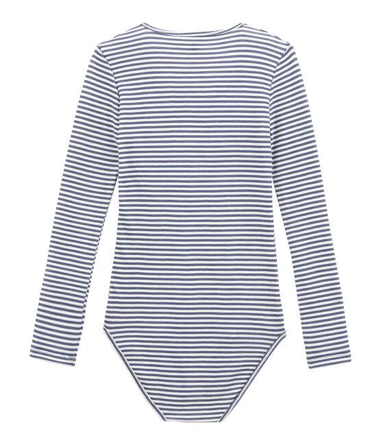 Body de algodón y lana para mujer azul Turquin / blanco Marshmallow