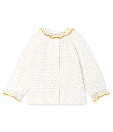 Blusa de manga larga en tela túbica con jacquard para bebé niña