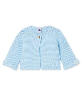 Cárdigan para bebé de punto 100 % algodón azul Toudou