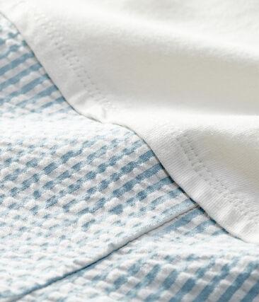 Mono corto falso de dos piezas para bebé niño blanco Marshmallow / azul Acier