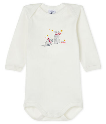 Bodi de manga larga para bebé blanco Lait / azul Smoking