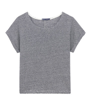 Camiseta brillante de lino milrayas para mujer azul Smoking / blanco Lait