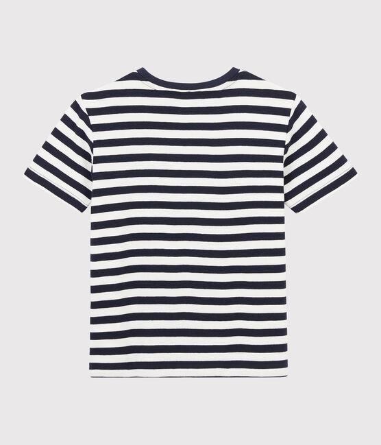 Camiseta de rayas de niño azul Smoking / blanco Marshmallow