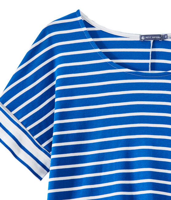 Camiseta oversize de rayas para mujer azul Perse / blanco Marshmallow