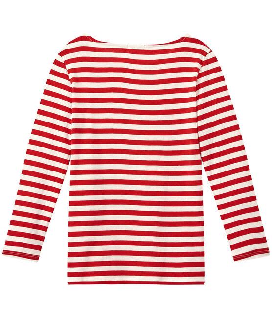 Camiseta de manga larga de punto original para mujer rojo Terkuit / blanco Marshmallow