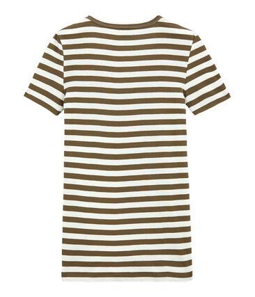 Camiseta de canalé original de rayas con cuello en pico para mujer marrón Shitake / blanco Marshmallow