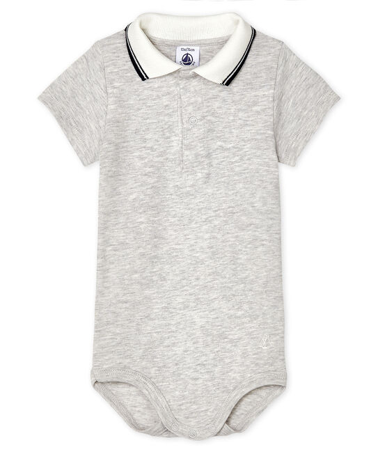 Bodi con cuello de polo para bebé niño gris Beluga