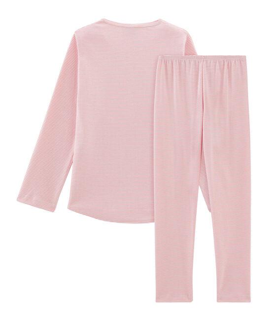 Pijama de punto para niña rosa Charme / blanco Marshmallow