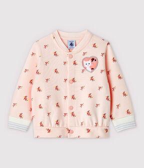 Abrigo teddy estampado de bebé niña rosa Fleur / blanco Multico