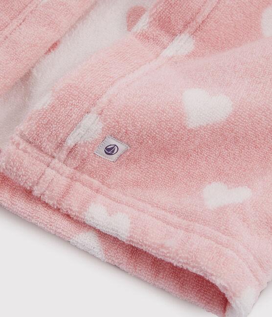 Capa de baño de rizo para bebé rosa Charme / blanco Marshmallow