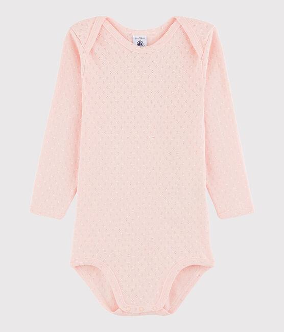 Bodi de manga larga de bebé niña rosa Minois / blanco Marshmallow