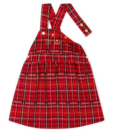 Vestido vaquero tipo peto de cuadros para bebé niña rojo Terkuit / blanco Multico