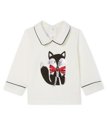 Camiseta de manga larga con cuello para bebé niño blanco Marshmallow