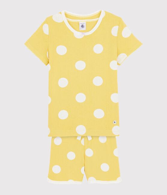 Pijama infantil corto con lunares de punto amarillo Ble / blanco Ecume