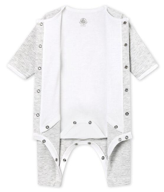 Pelele sin pies para bebé mixto con body integrado gris Beluga / blanco Ecume