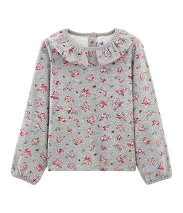 Camiseta de manga larga para niña gris Beluga / blanco Multico