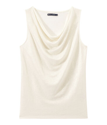Camiseta sin mangas de lino para mujer blanco Lait / amarillo Or