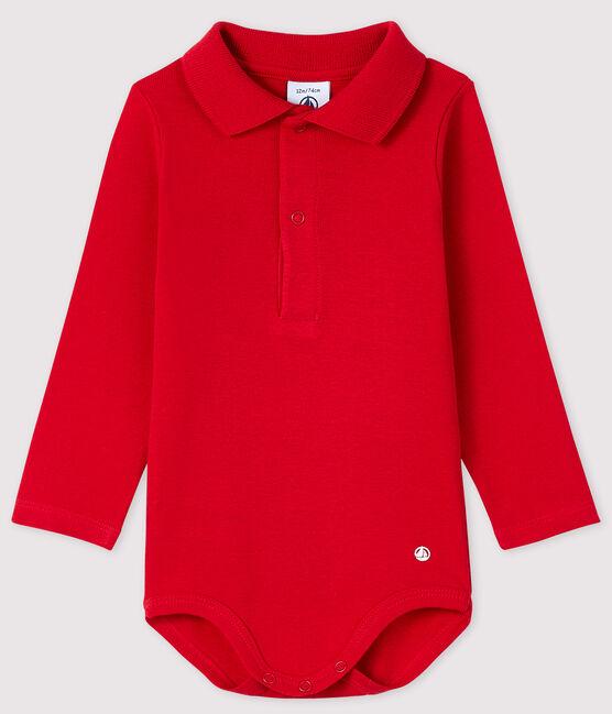 Bodi de manga larga con cuello de polo para bebé rojo Terkuit